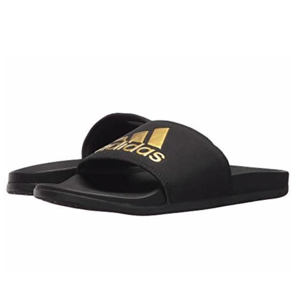2db450626938 Adidas Slides Sandals Comfort Black   Gold Size 8